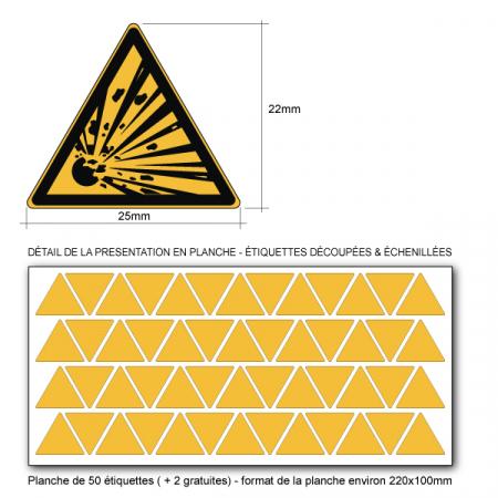 Etiquette triangle Danger  ISO 71010 W001 - Base 25mm en planche
