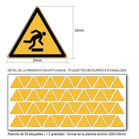 Picto DANGER TRÉBUCHEMENT - W007 - Norme ISO 7010 - Base 25mm en planche