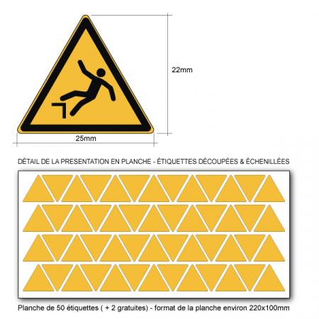 Pictogramme DANGER DE CHUTE - W008 - Norme ISO 7010 - Base 25mm en planche