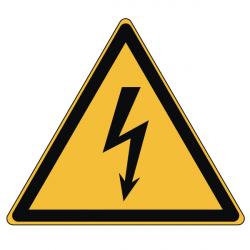 Pictogramme DANGER ÉLECTRICITÉ  - W012 - Norme ISO 7010 - Base 25mm en planche