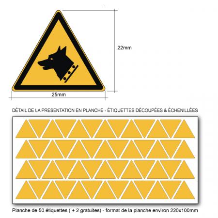Pictogramme DANGER CHIEN DE GARDE - W013 - Norme ISO 7010 - Base 25mm en planche
