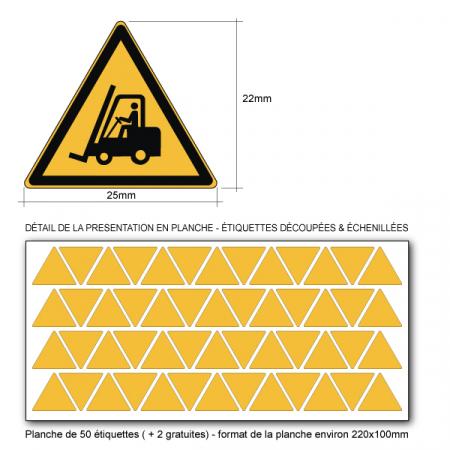 Pictogramme DANGER CHARIOT ÉLÉVATEUR À FOURCHE ET AUTRES VÉHICULES INDUSTRIELS - W014 - Norme ISO 7010 - Base 25mm en planche