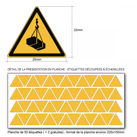 Pictogramme DANGER CHARGES SUSPENDUES - W015 - Norme ISO 7010 - Base 25mm en planche