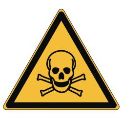 Pictogramme DANGER MATIÈRES TOXIQUES - W016 - Norme ISO 7010 - Base 25mm en planche