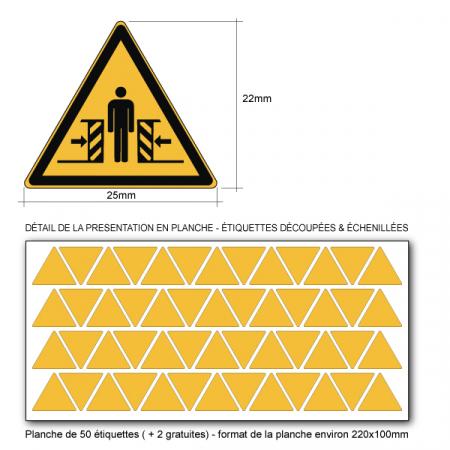 Pictogramme DANGER ÉCRASEMENT - W019 - Norme ISO 7010 - Base 25mm en planche