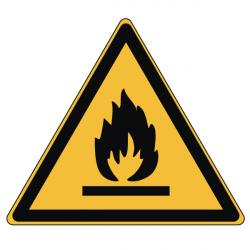 Pictogramme DANGER MATIÈRES INFLAMMABLES - W021 - Norme ISO 7010 - Base 25mm en planche