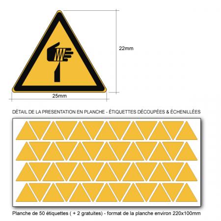 Pictogramme DANGER ÉLÉMENT POINTU - W022 - ISO 7010 - Base 25mm en planche