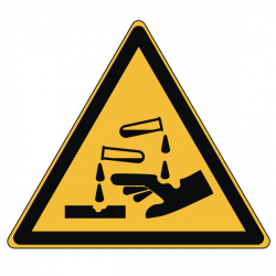 Pictogramme DANGER SUBSTANCES CORROSIVES - W023 - ISO 7010 - Base 25mm en planche