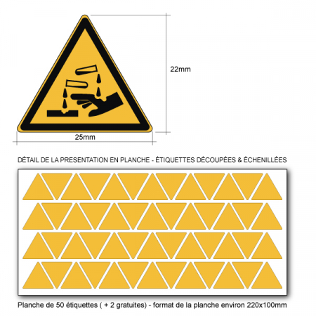 Pictogramme DANGER SUBSTANCES CORROSIVES - W023 - ISO 7010 - Base 25mm en planche
