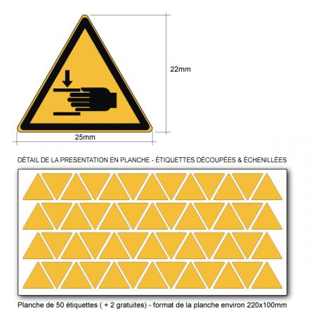 Pictogramme DANGER ÉCRASEMENT DES MAINS - W024 - ISO 7010 - Base 25mm en planche