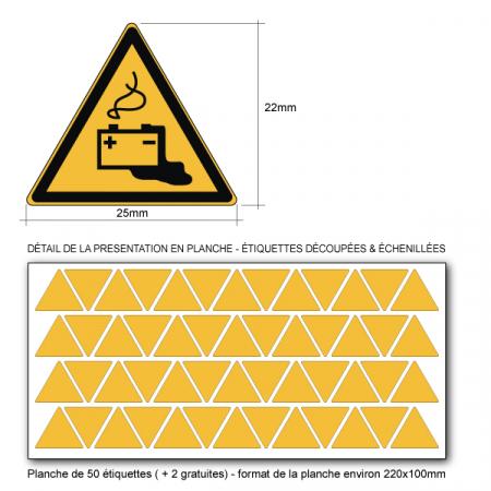 Pictogramme DANGER CHARGE EN COURS DE LA BATTERIE - W026 - ISO 7010 - Base 25mm en planche