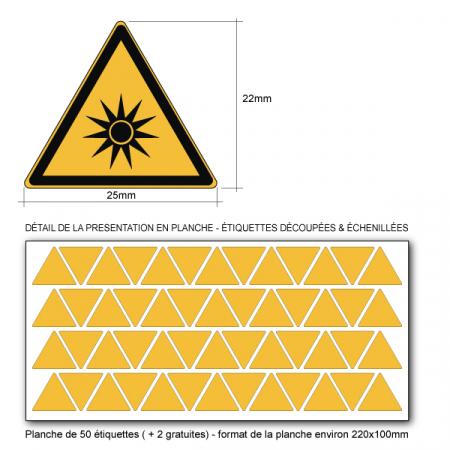 Pictogramme DANGER RAYONNEMENT OPTIQUE - W027 - ISO 7010 - Base 25mm en planche