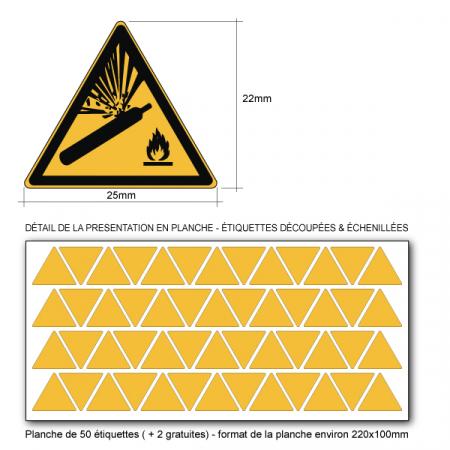 Pictogramme DANGER BOUTEILLE PRESSURISÉ - W029 - ISO 7010 - Base 25mm en planche