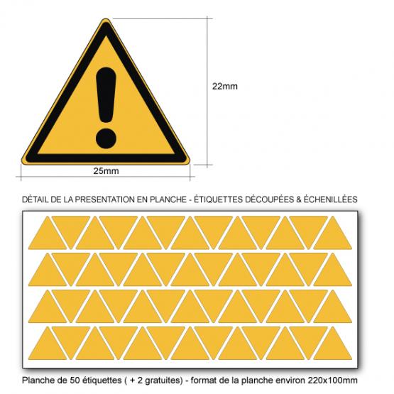 Pictogramme DANGER GÉNÉRAL - W001 - NORME ISO 7010 - Base 25mm en planche